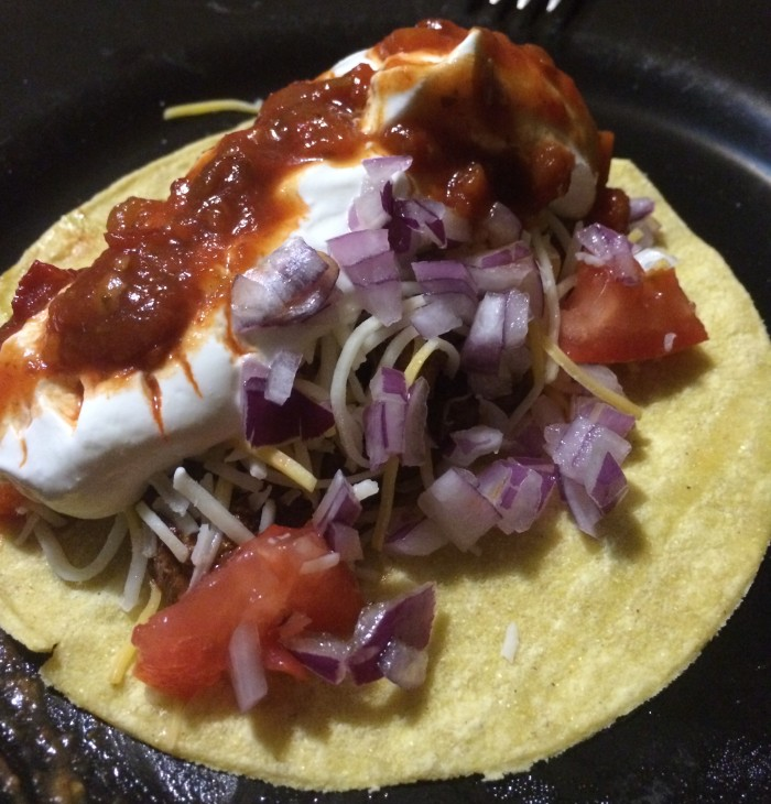 "And D.'s taco which was much a ""manly man's taco""  or something like that"