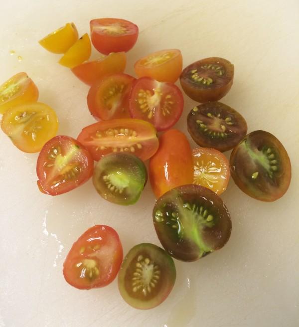 Heirloom tomato halves!
